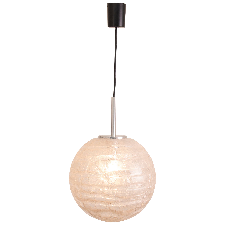 1970s German Doria Crackle Glass Pendant Hanging Light