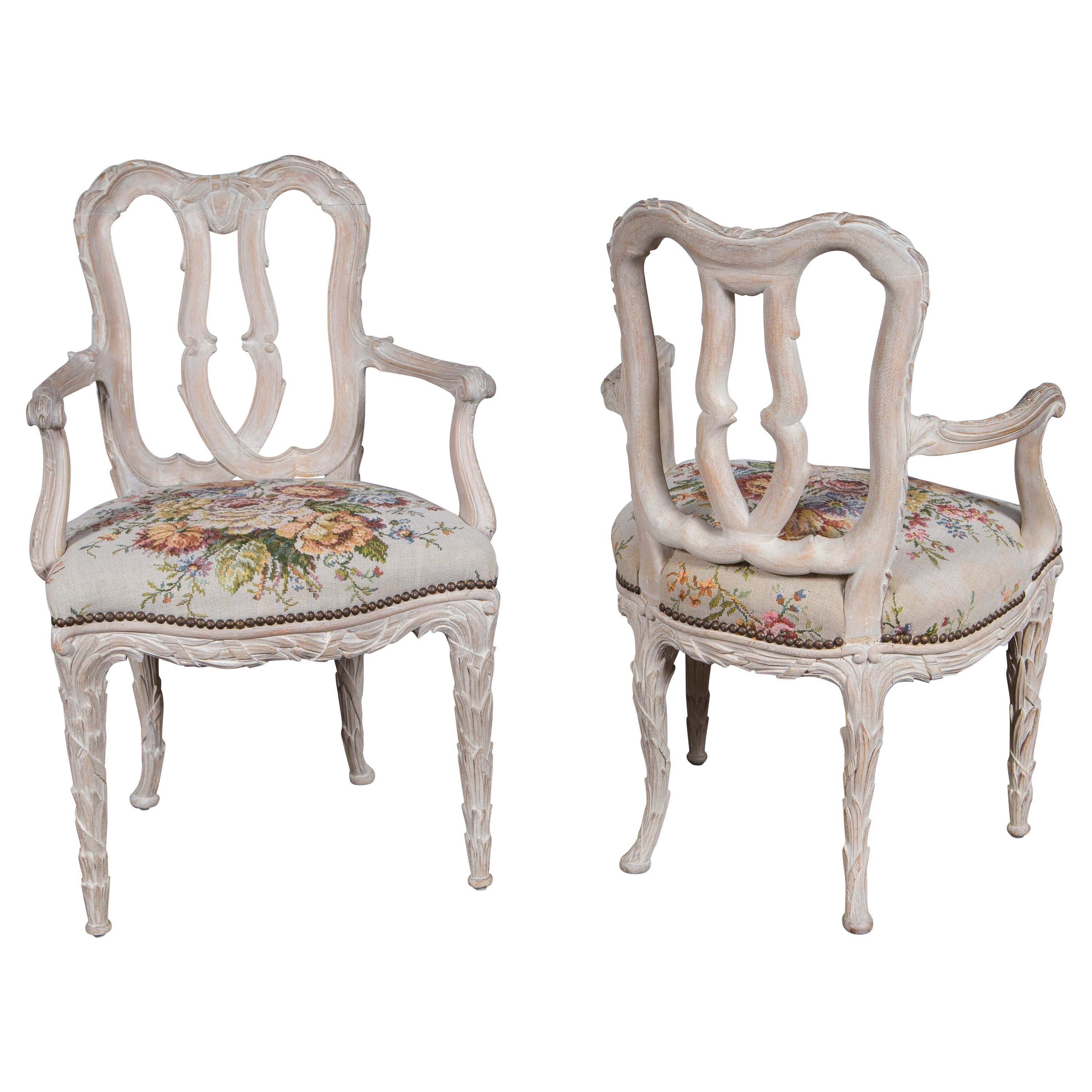 Pair of Carved Wood Armchairs in the Style of Serge Roche