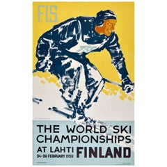 Original Vintage Poster for the 1938 World Ski Championships at Lahti, Finland