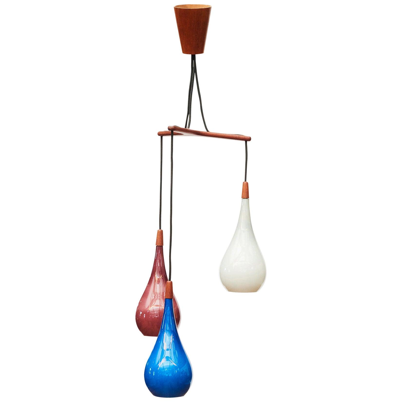 Glass and Teak  Pendant Light, Danish Design, Holmegaard, circa 1955