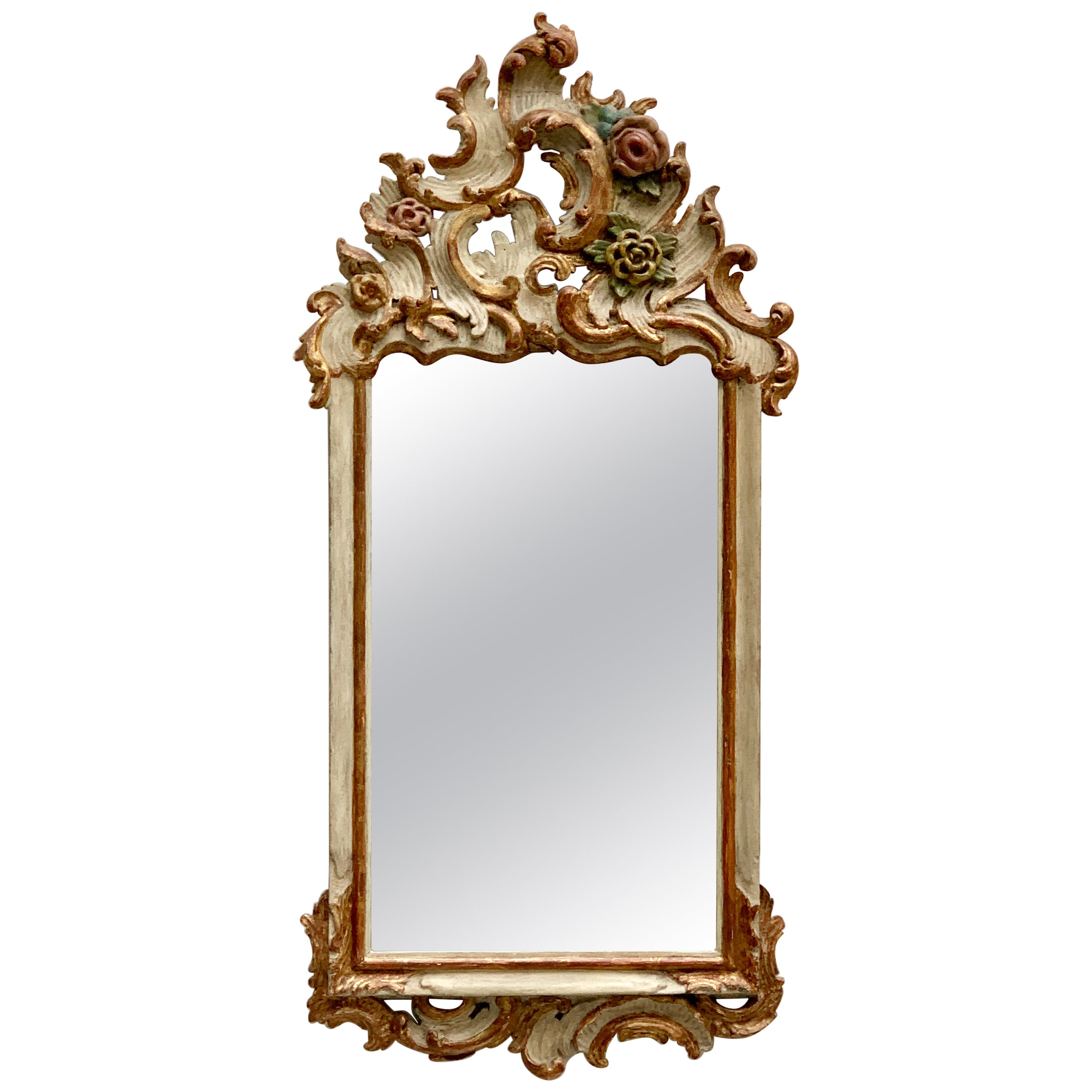 German 18th Century Rococo Mirror, Bavaria, White Painted