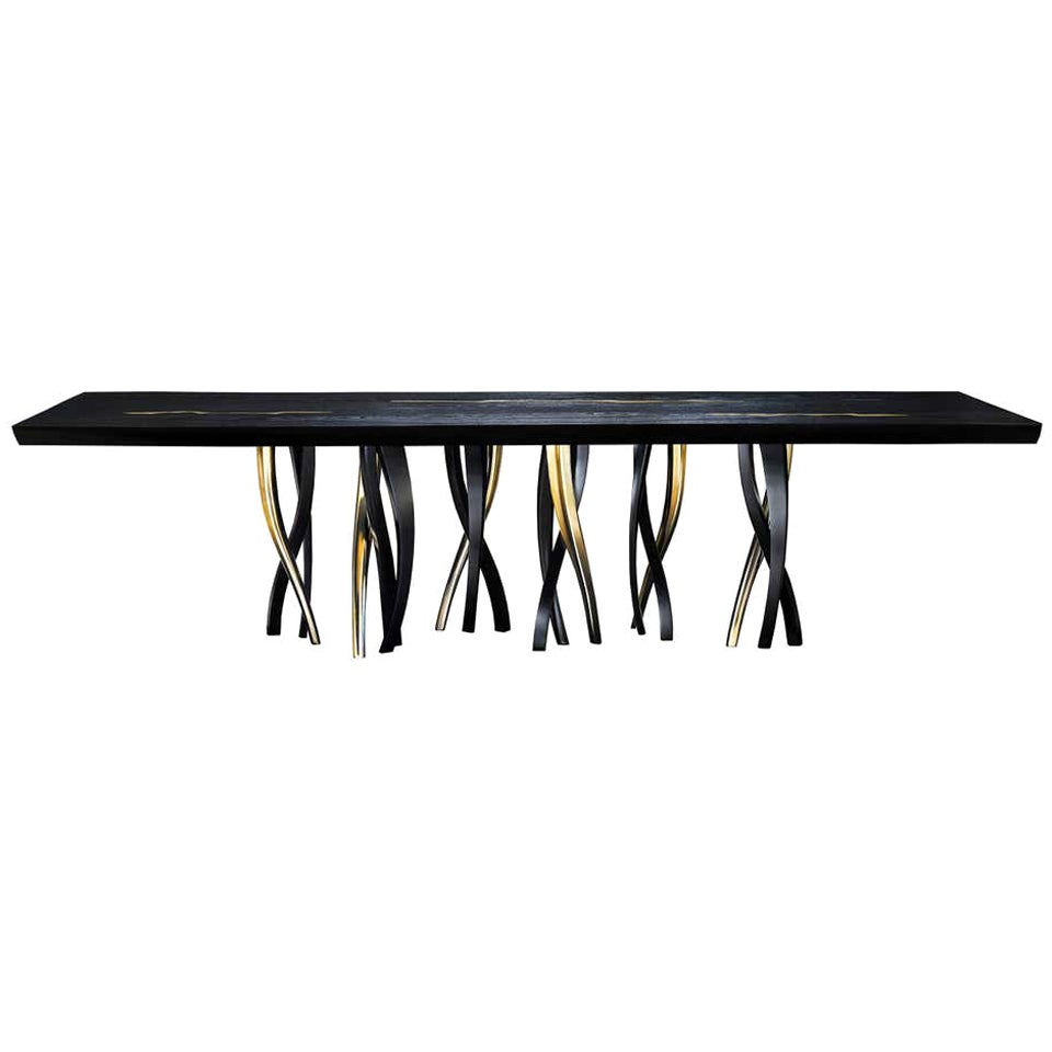 Black and Gold Ash wood Dining Table, Made in Italy