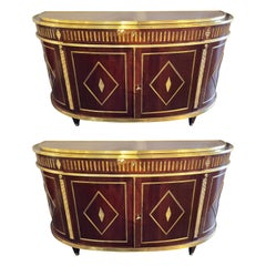 Palatial Pair of Russian Neoclassical Style Demilune Consoles Cabinets