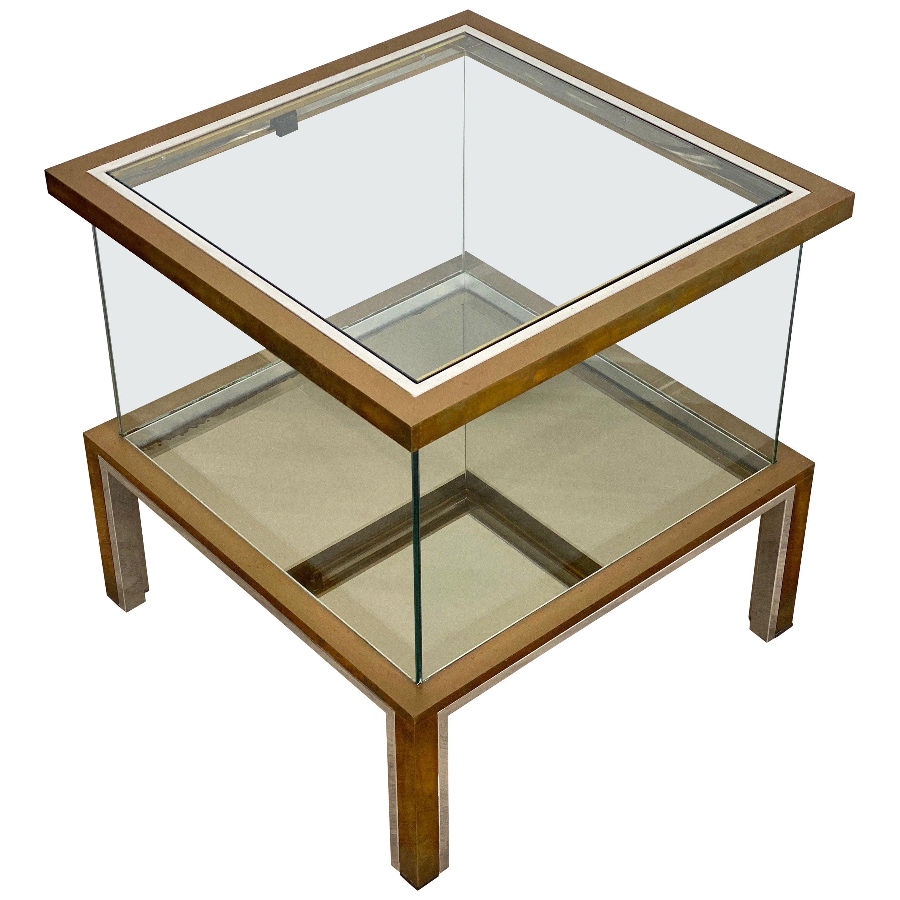 Romeo Rega Coffee Side Bar Cabinet Table in Chrome Brass and Glass, Italy, 1970s