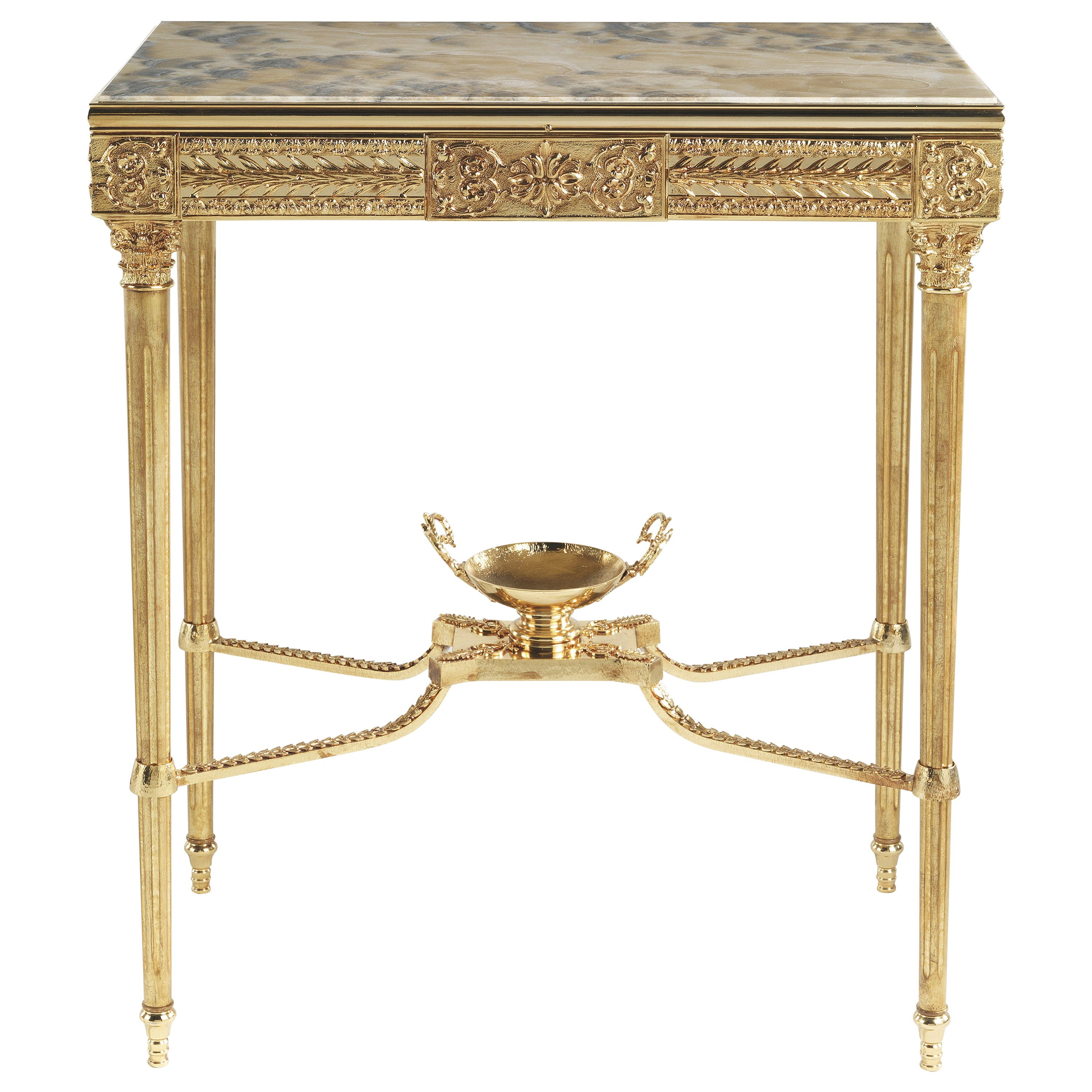 Jumbo Collection Shogun Console Table in Brass and Onyx Top
