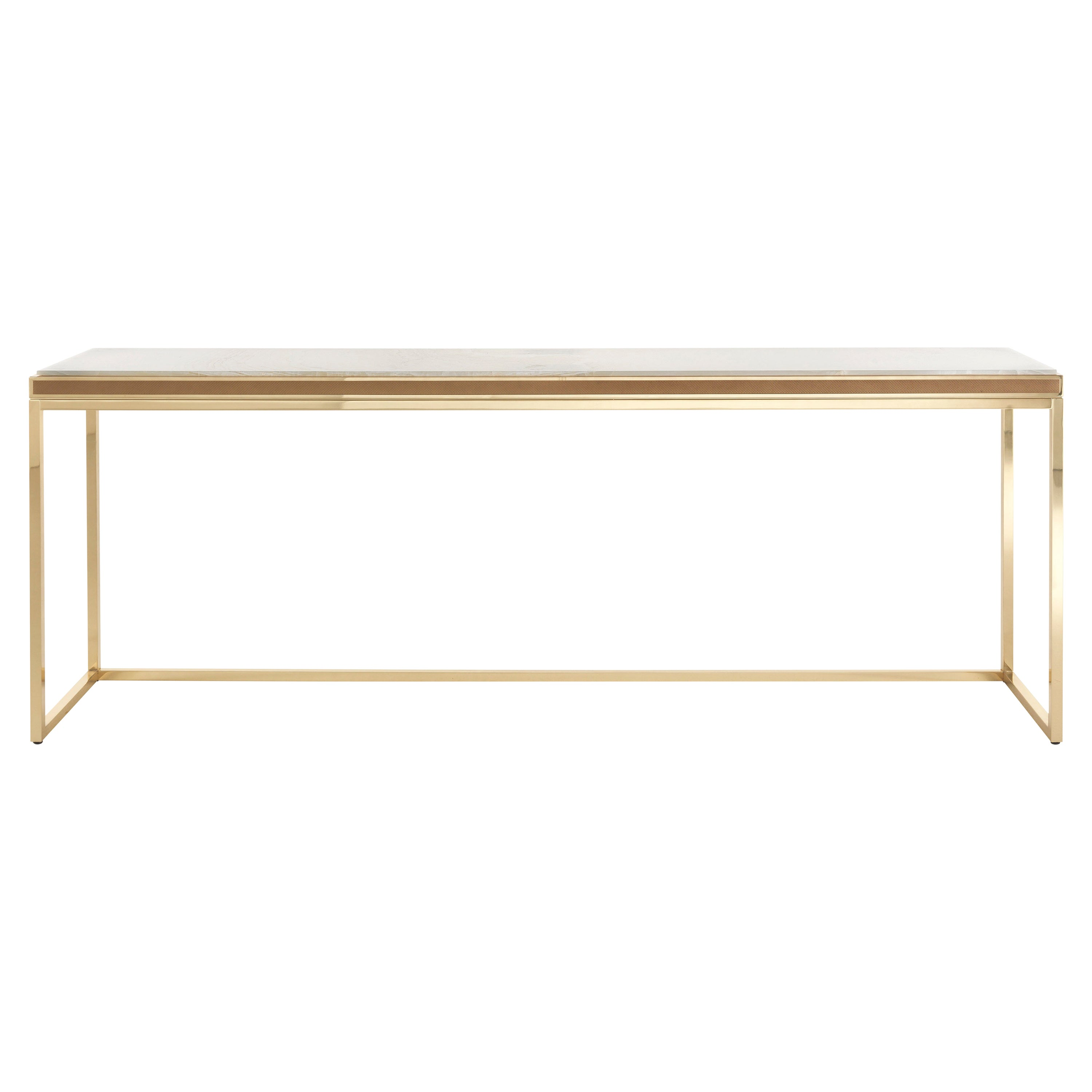 Jumbo Collection Dedalus Console Table in Brass and Onyx Top