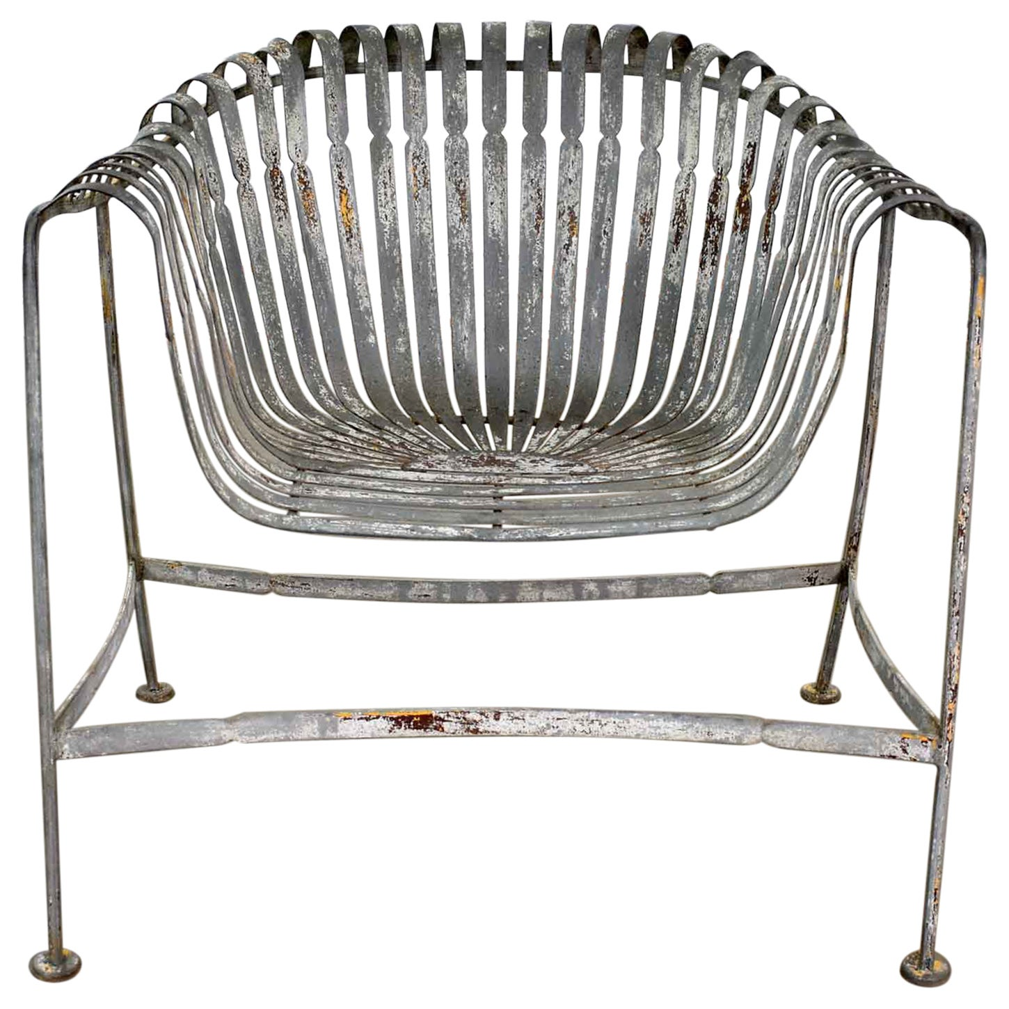 Vintage Rustic Spring Steel Fan Roll Back Garden Chair Style Francois Carré