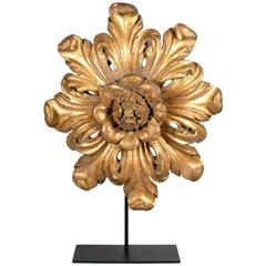 18th Century Carved Giltwood Floral Form Architectural Element