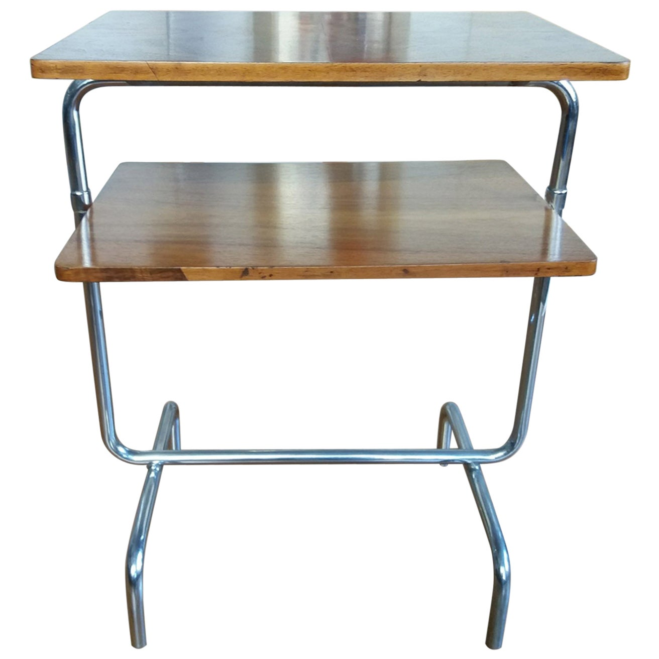 Bauhause Chromed Side Table in Walnut  Robert Slezak, 1930s, Bohemia
