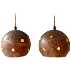 Pair of Copper and Yellow Glass Pendant Lamps by Nanny Still