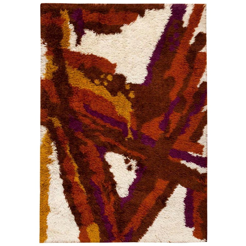 Small Vintage Scandinavian Shag Rya Rug. Size: 4 ft 6 in x 6 ft 5 in