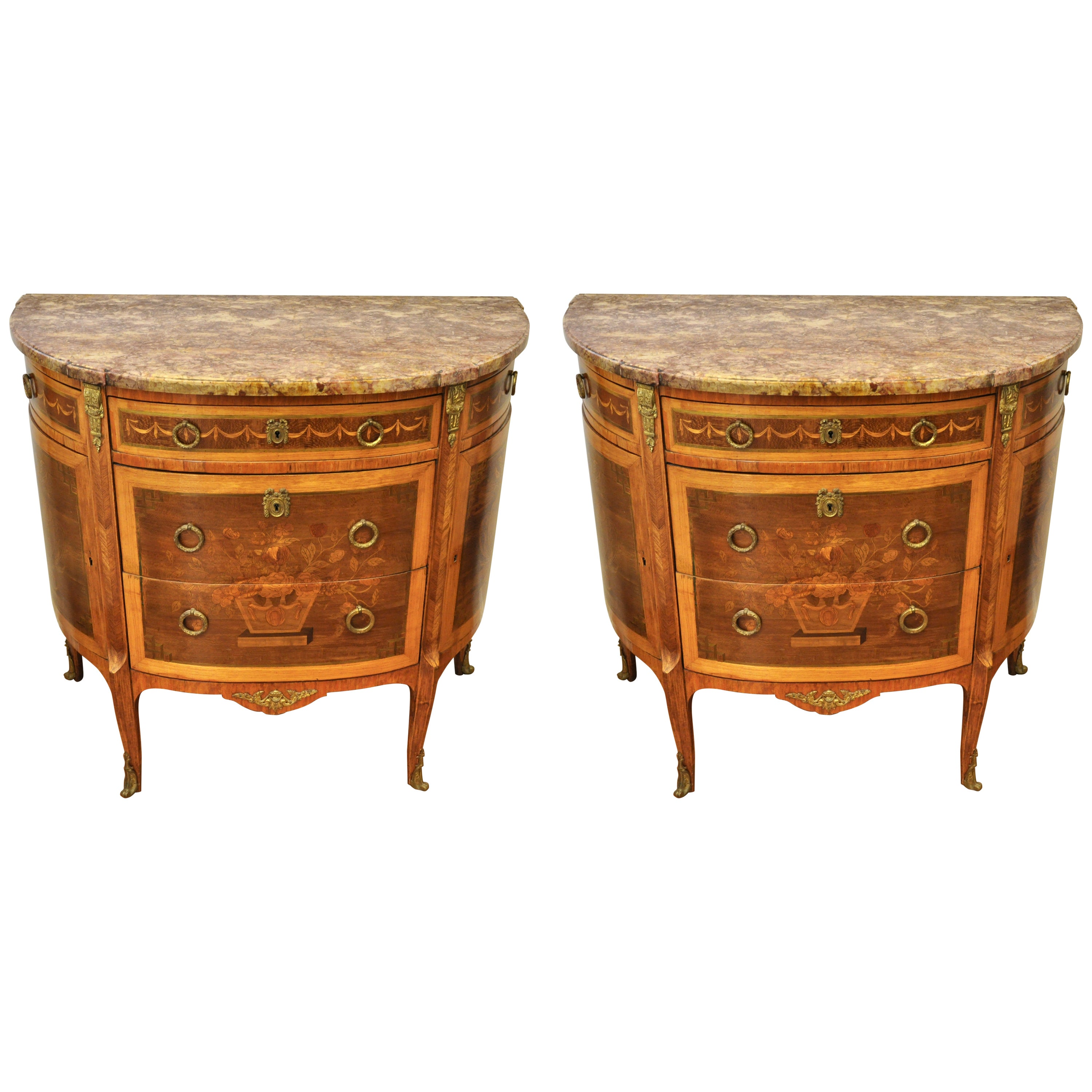 Pair of Louis XVI Style Marble-Top Marquetry Inlaid Commodes