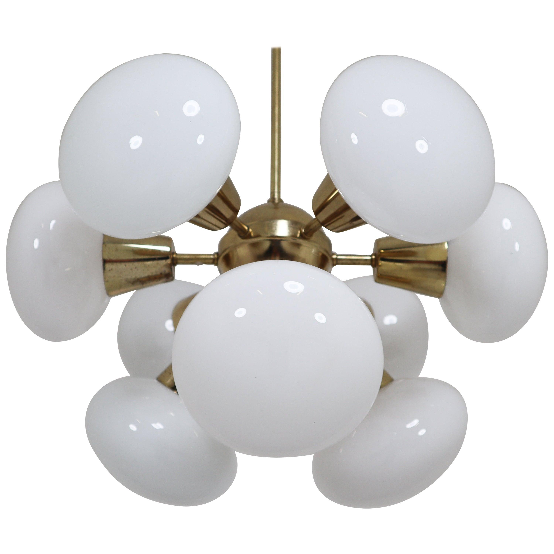 Midcentury Sputnik Chandeliers in Brass and Opaline Glass Spheres, Europe, 1970s