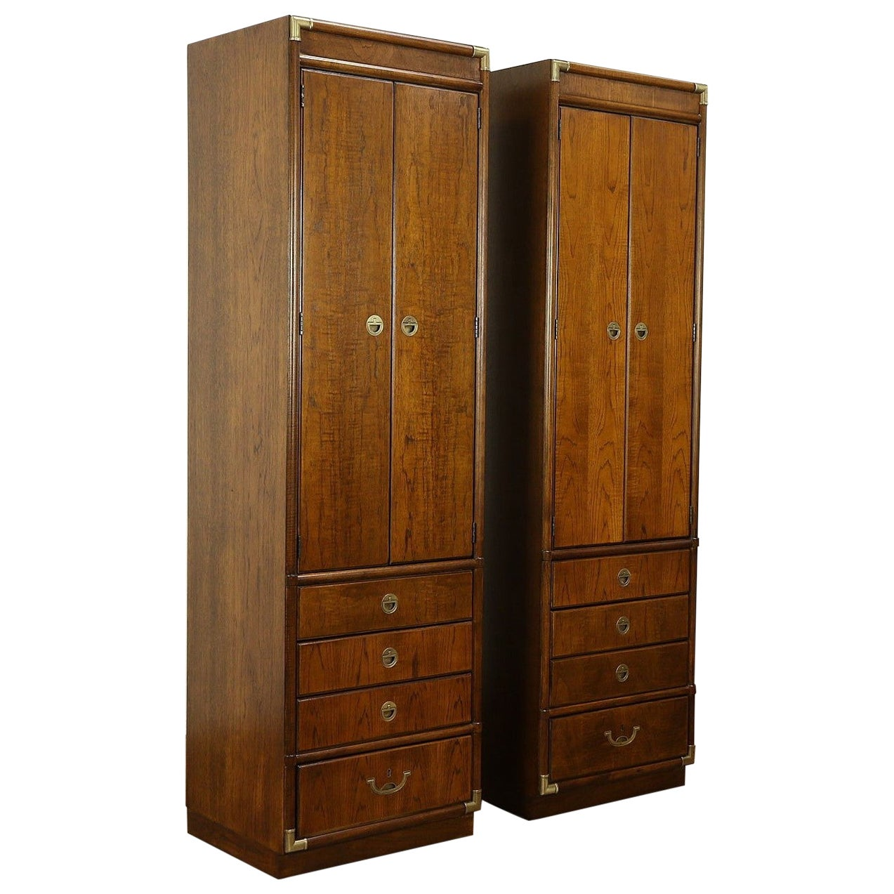 Pair of Vintage Campaign Style Drexel Accolade II Cabinets