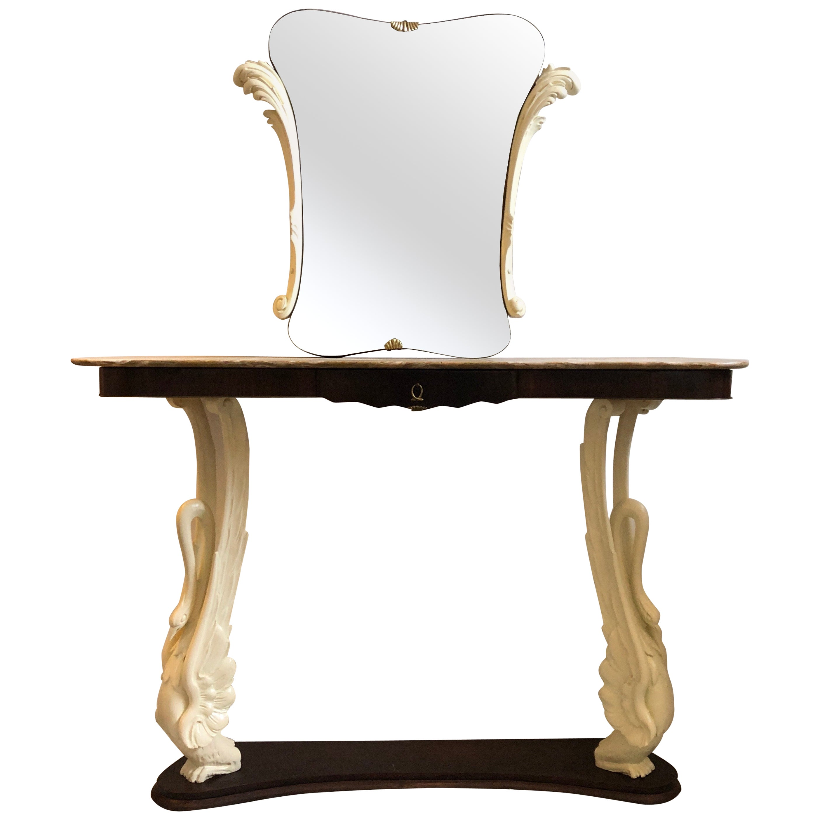 Mid-Century Modern Rosewood and Marble Italian Console and Mirror, circa 1950