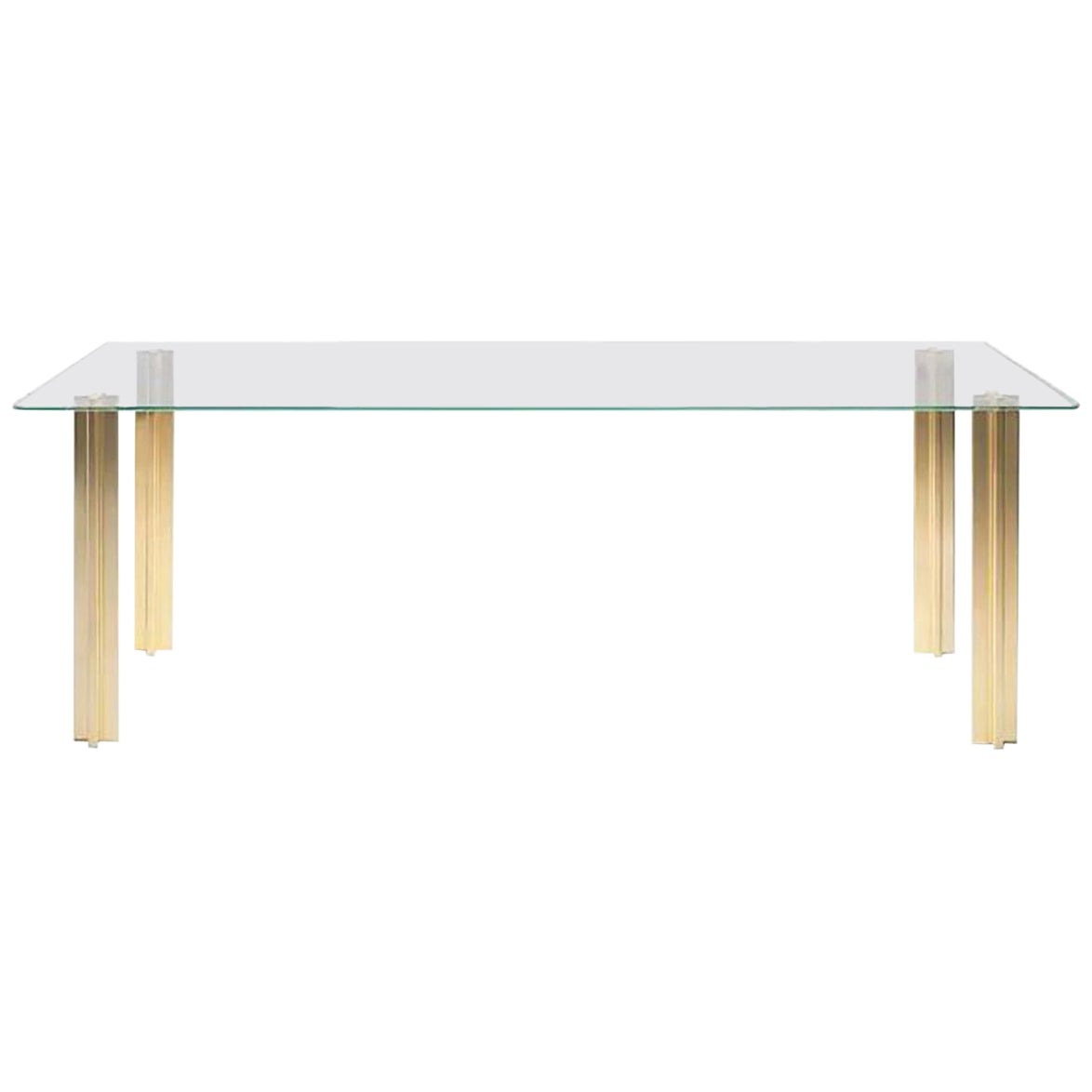 Gold Contemporary Rectangular Table, Glass Top and Gold Plated Aluminium Legs