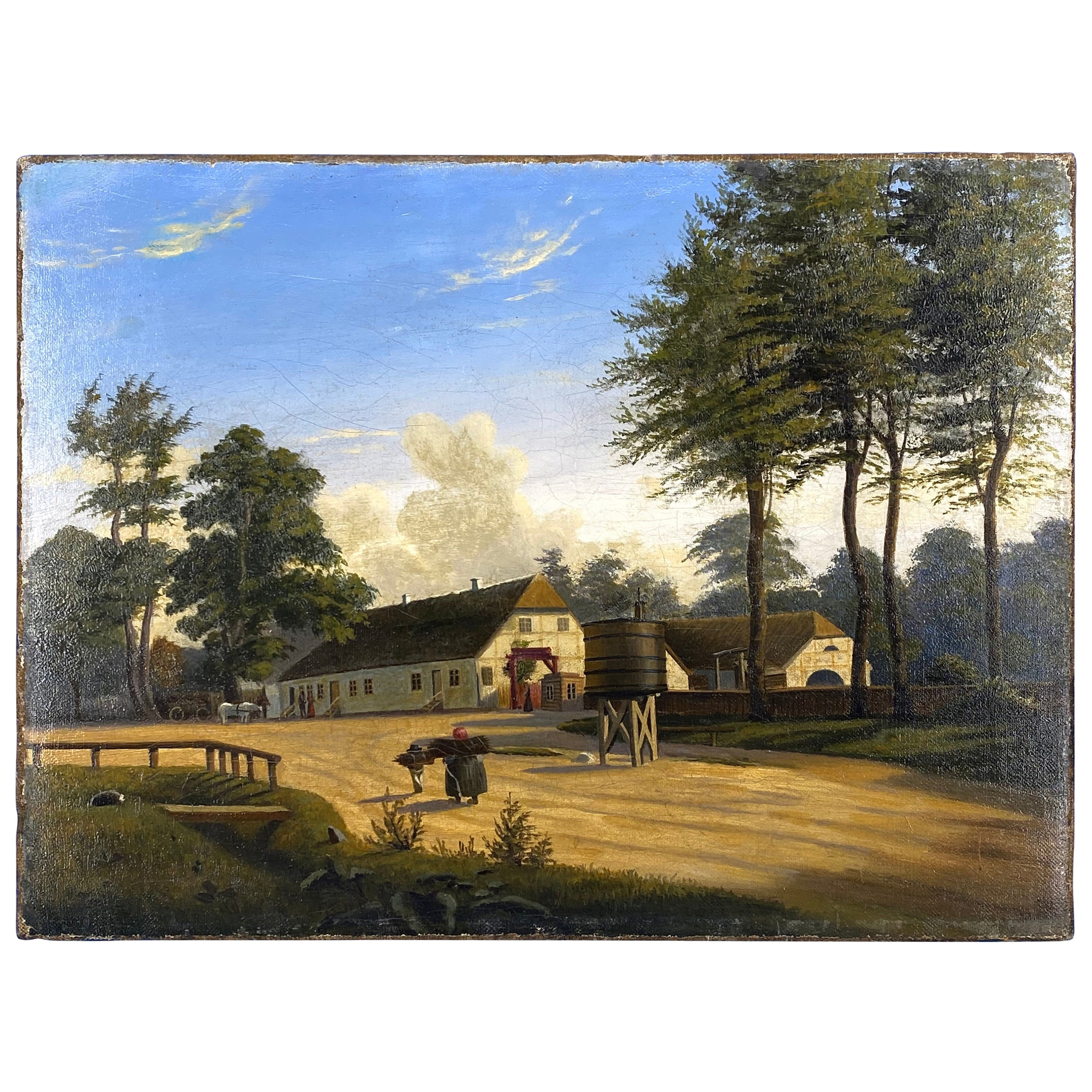 Danish Early 19th Century Oil Painting Of A Farm House