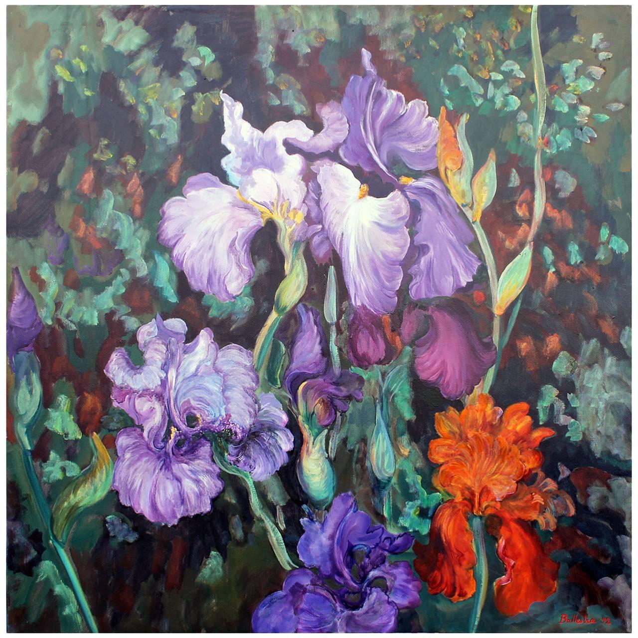 Oil painting on Canvas Iris Garden Signed E. Ballestra Contemporary Artist