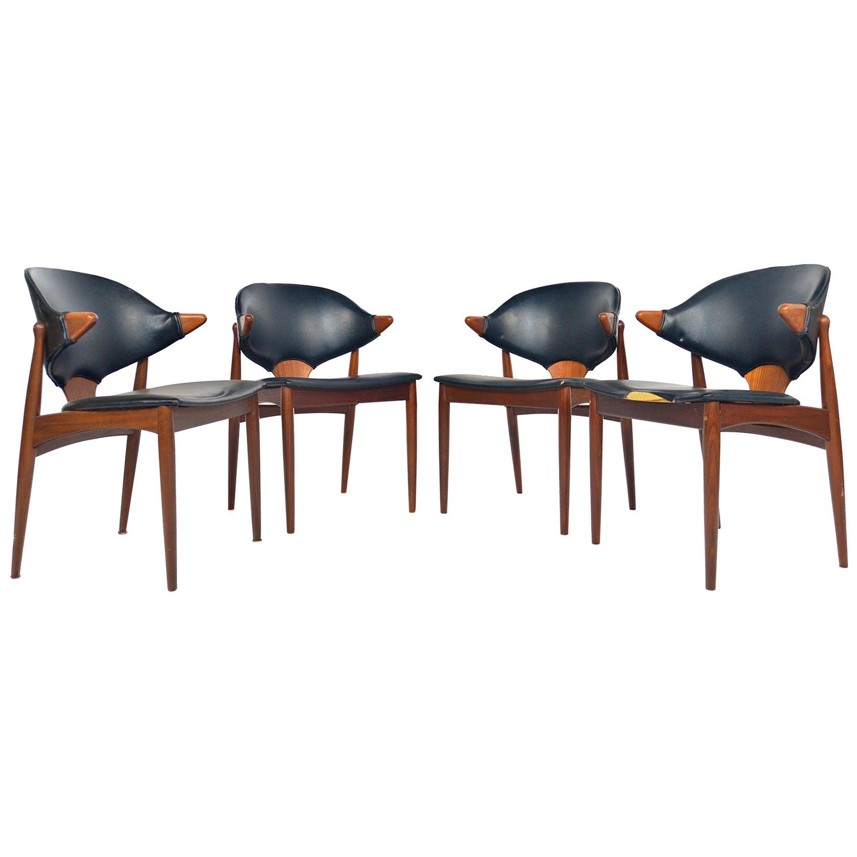 Rare Set of Four Arne Vodder Danish Armchairs in Teak for Vamo Sonderborg