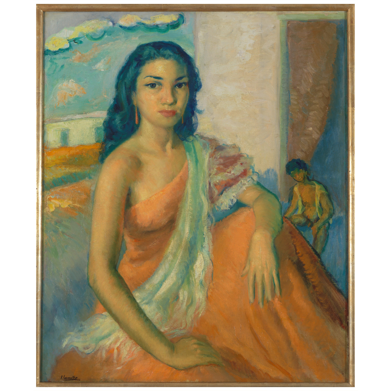 José Lamuno Garcia, Portrait of an Exotic Woman, Oil on Canvas, Framed