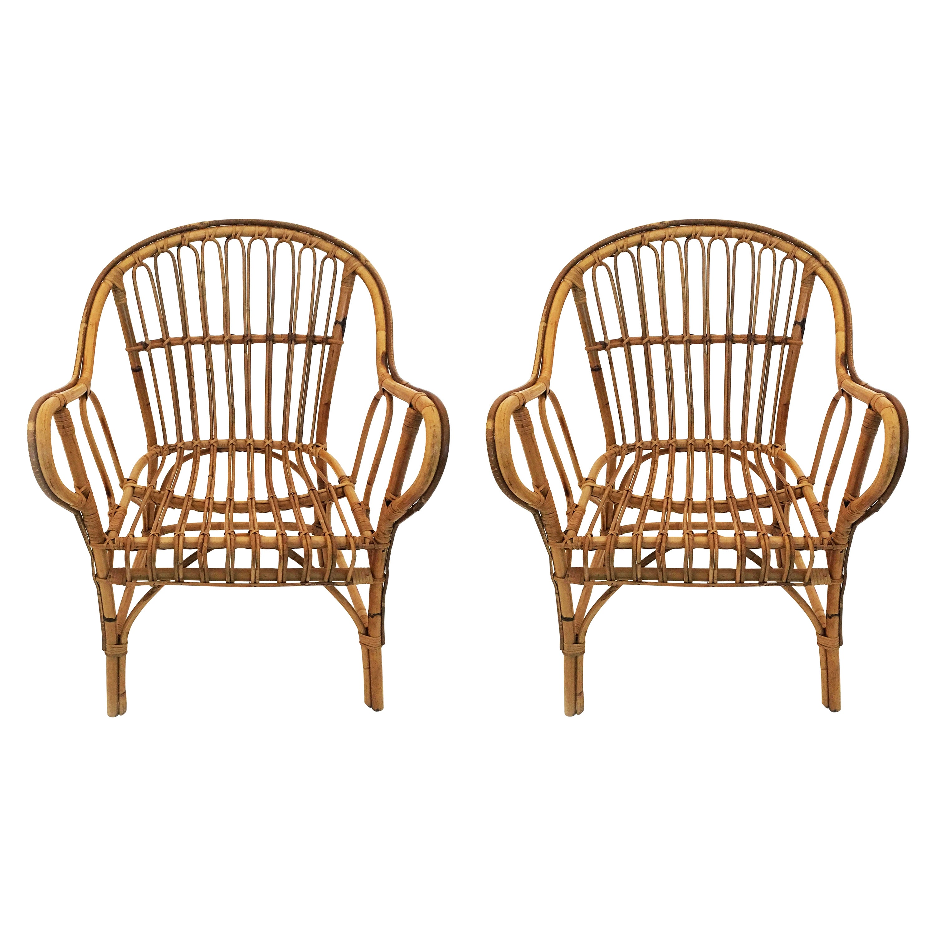 Bamboo Side Chairs Pair, France 1950s
