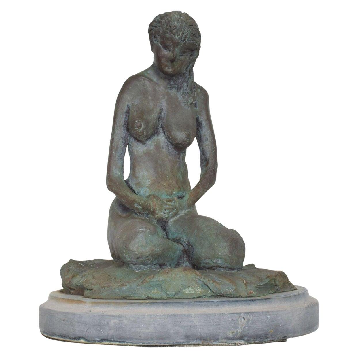 Modern Cast Bronze Sculpture Nude Female Reflective Posture Francisco Zuniga