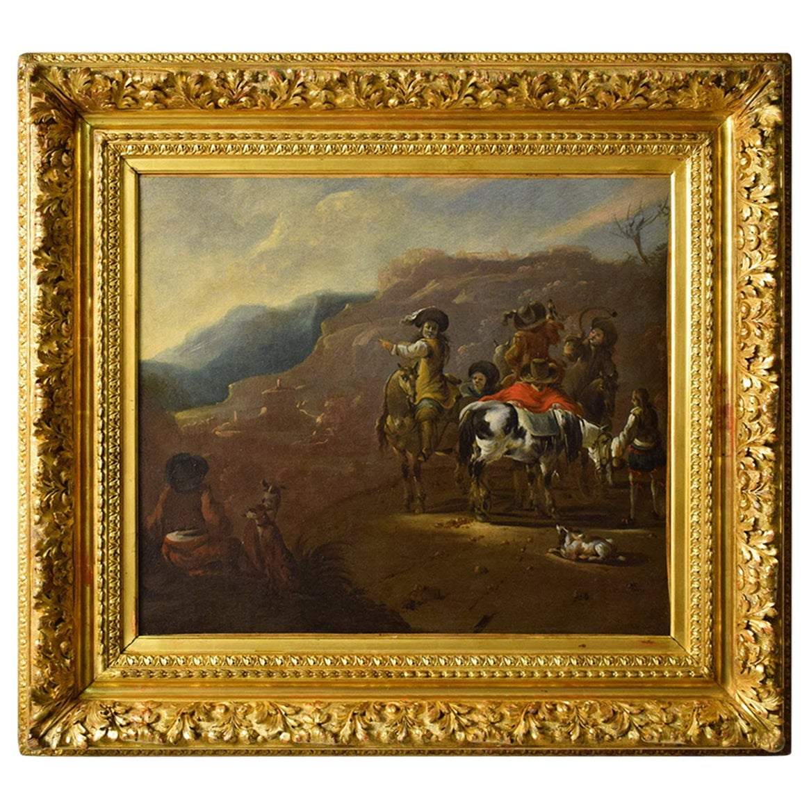 17th Century, Oil on Canvas Dutch Painting with Hunting Scene