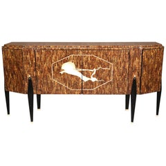 Italian Faux Tasselated Rosewood Mid-Century Modern Style Sideboard Buffet
