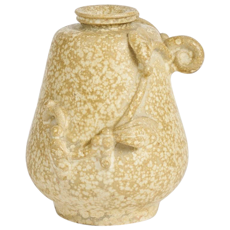Arne Bang, Beige Glazed Ceramic Vase, Denmark, 1930s