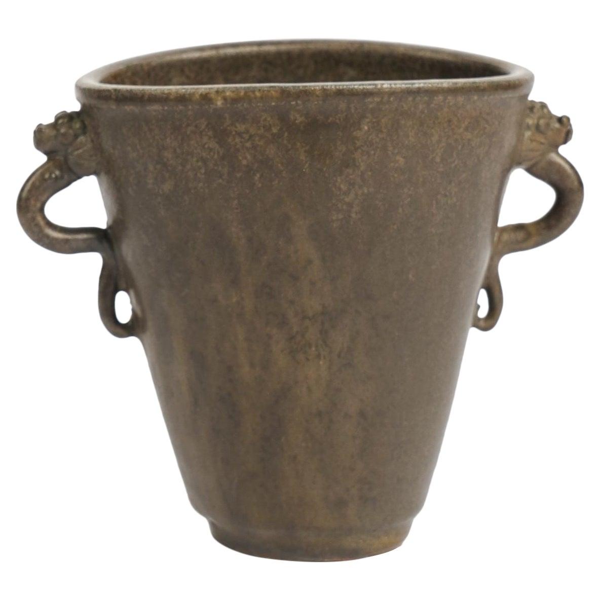 Arne Bang, Slate Colored Glazed Ceramic Vase, Denmark, 1930s