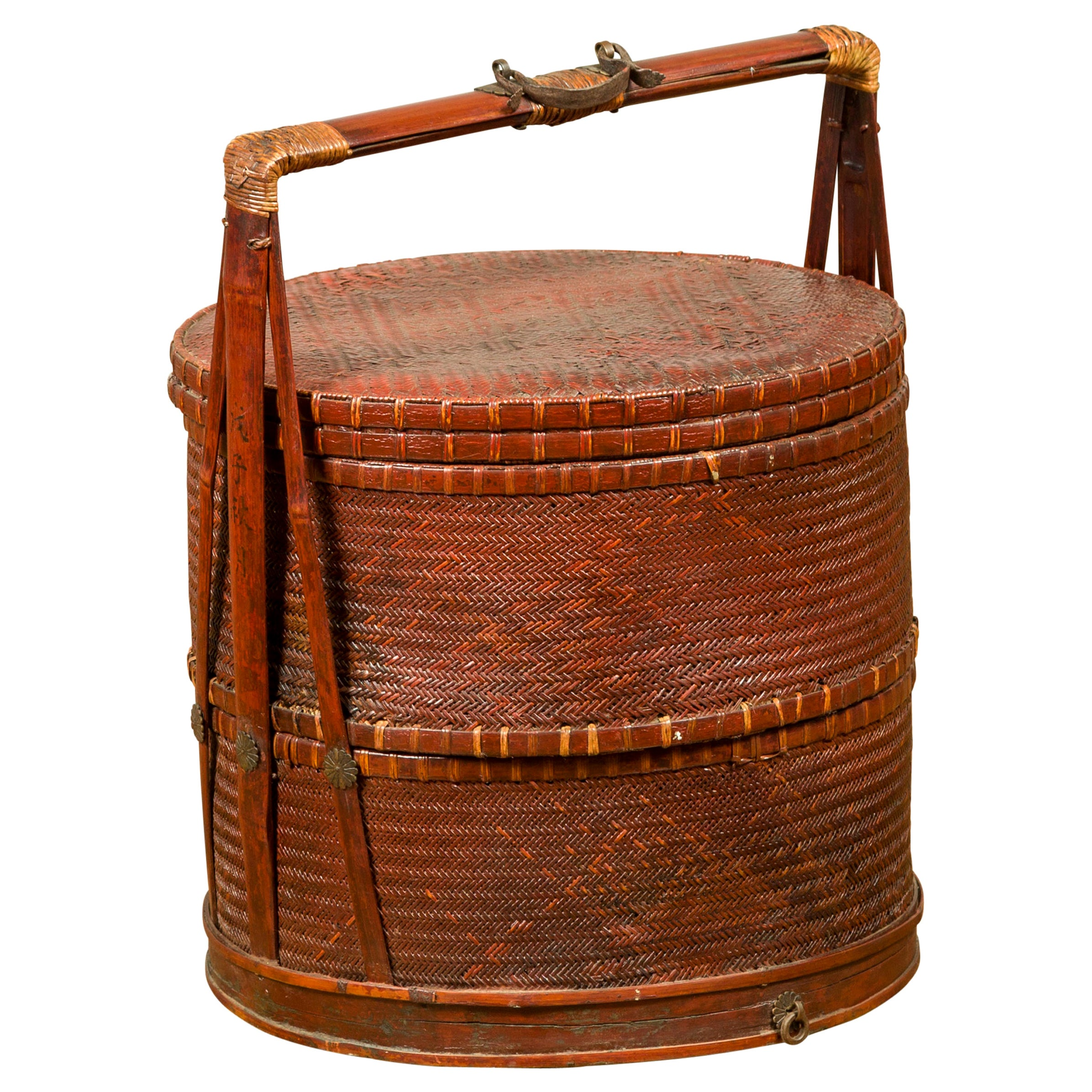 Antique Chinese Rattan and Bamboo Nested Lunch Basket with Carved Handle