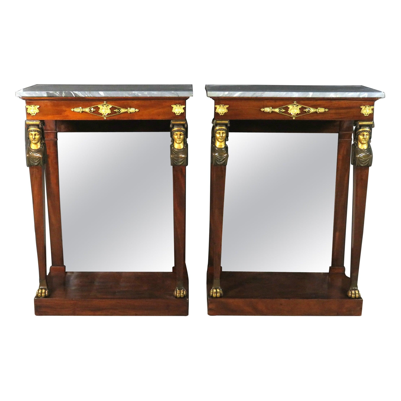 Fine Pair of Diminutive Empire Period Mahogany Console Tables, France Circa 1820