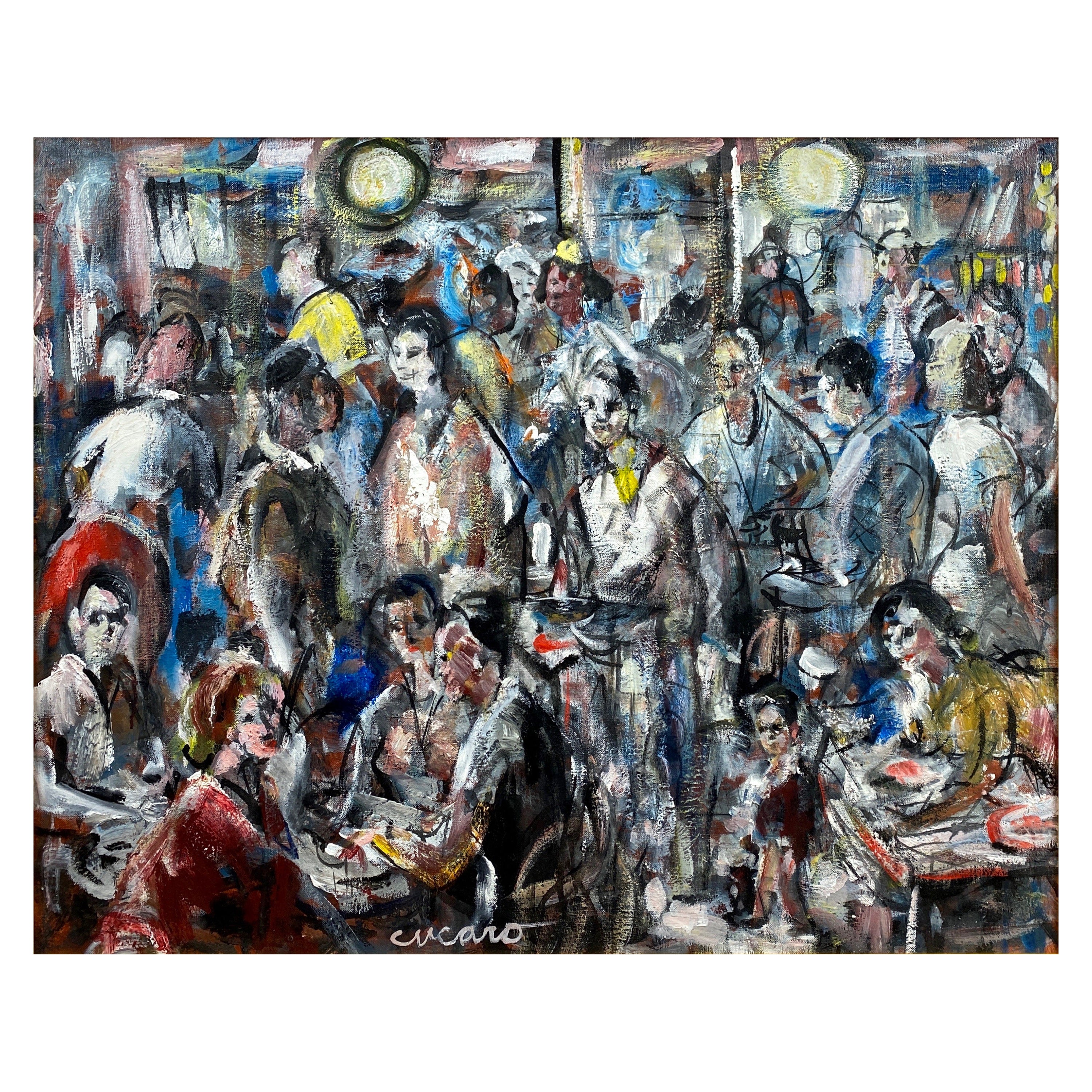 "Pascal Cucaro ""Crowded Café"", Expressionist Oil Painting, 1960s"