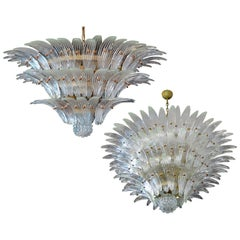 Pair of Palmette Chandeliers Barovier & Toso Style, Murano