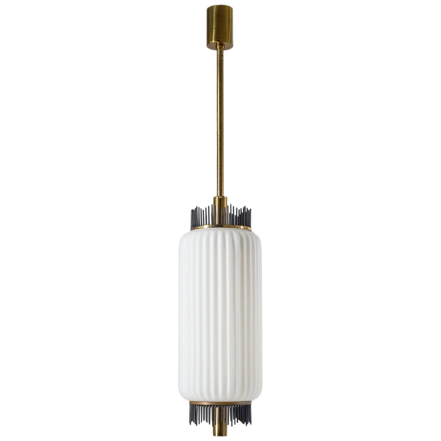 Angelo Lelii Pendant for Arredoluce, circa 1959, Brass and Ribbed Satin Glass