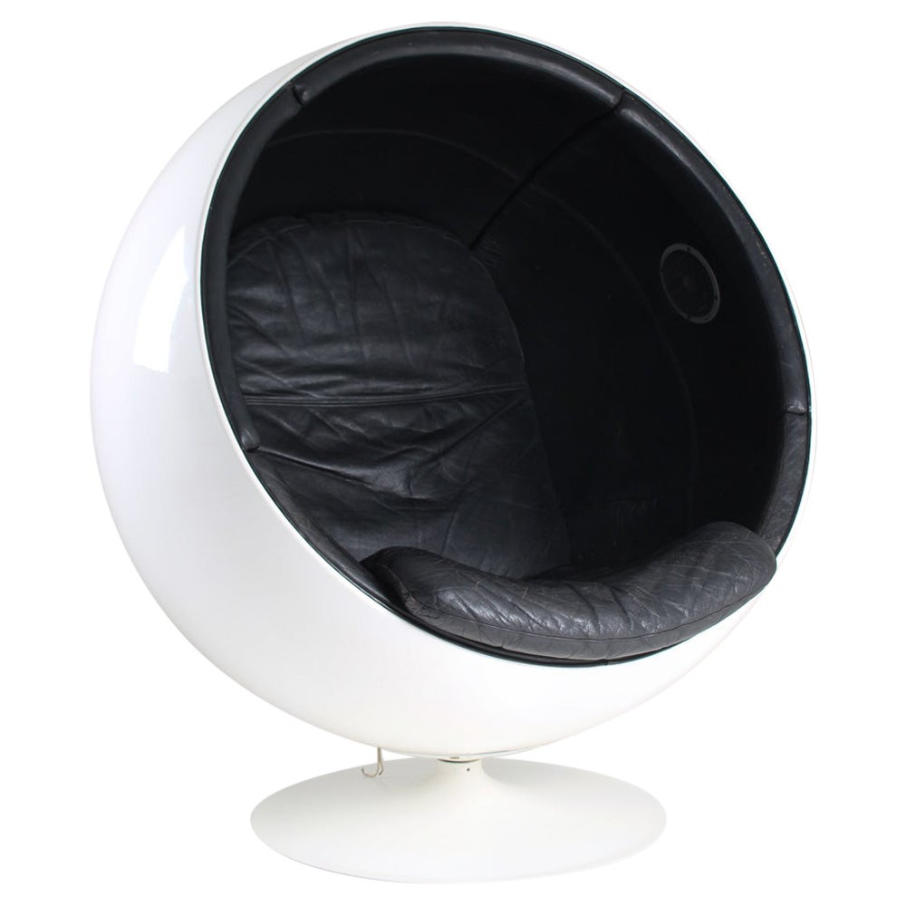 "Eero Aarnio ""Ball Chair"" with Leather Upholstery and Speakers"