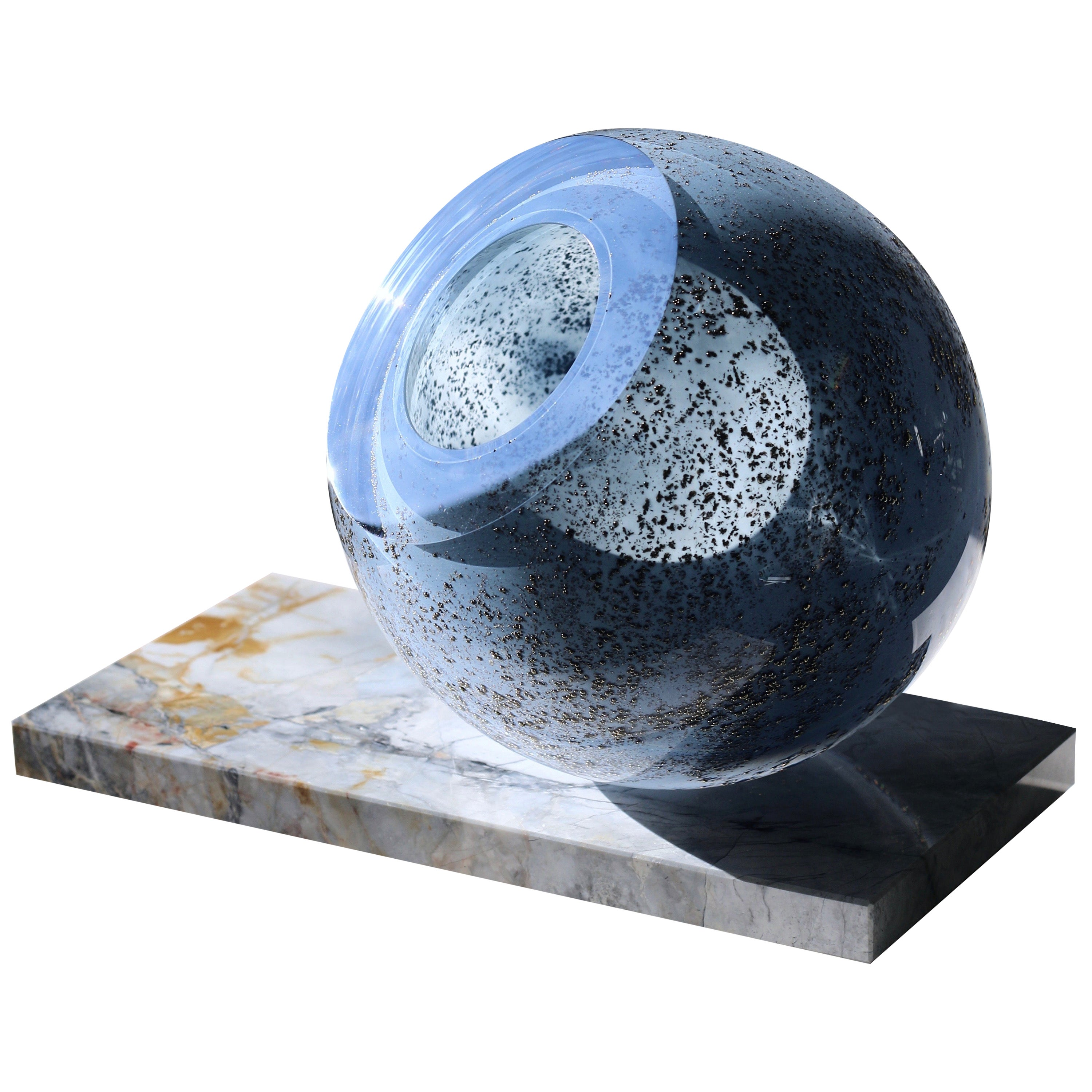 'Globe' Sculptural Vase in Mouth-Blown Glass and Marble by Experimental, 2020