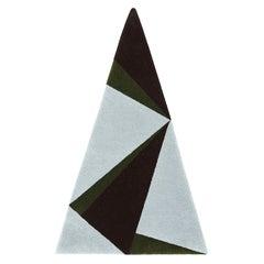 """Power"" Triangular Blue, Green, Black Irish Wool Rug or Tapestry by Rhyme Studio"