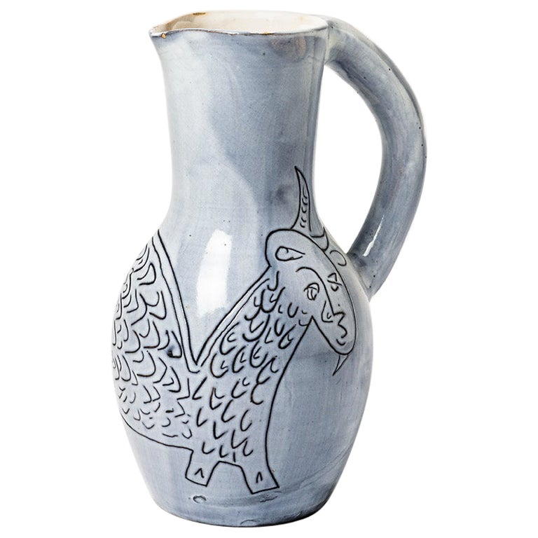 Ceramic Pitcher by Jacques Innocenti, to Vallauris, circa 1960-1970