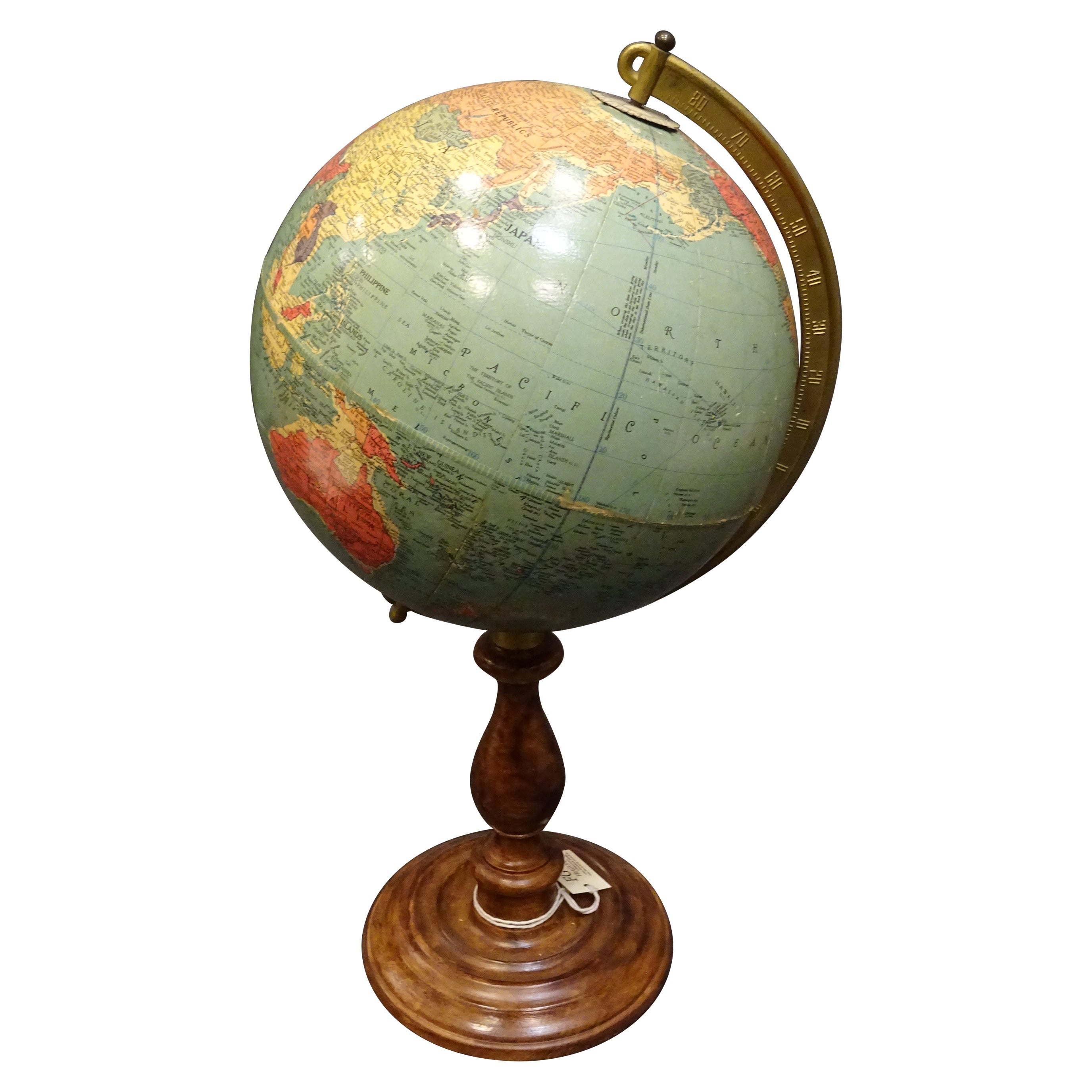 Replogle Globes Chicago 1950s Papiermache, Wood and Metal World Globe