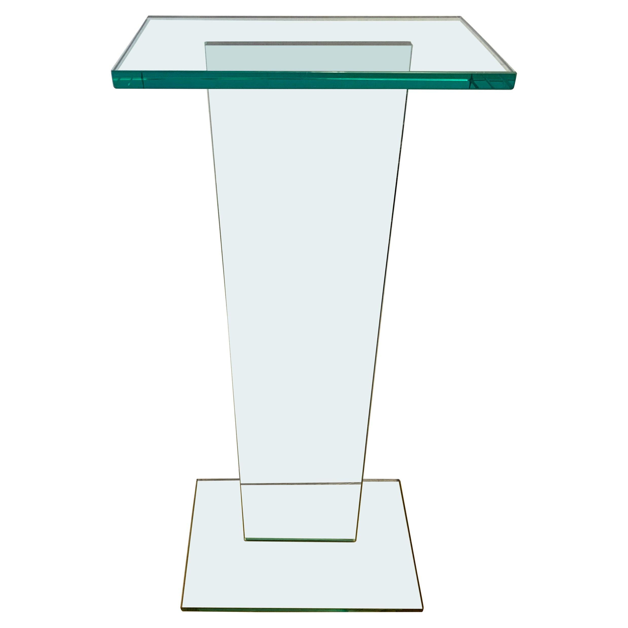 Mid-Century Modern Thick Glass Sculptural Pedestal Stand Column