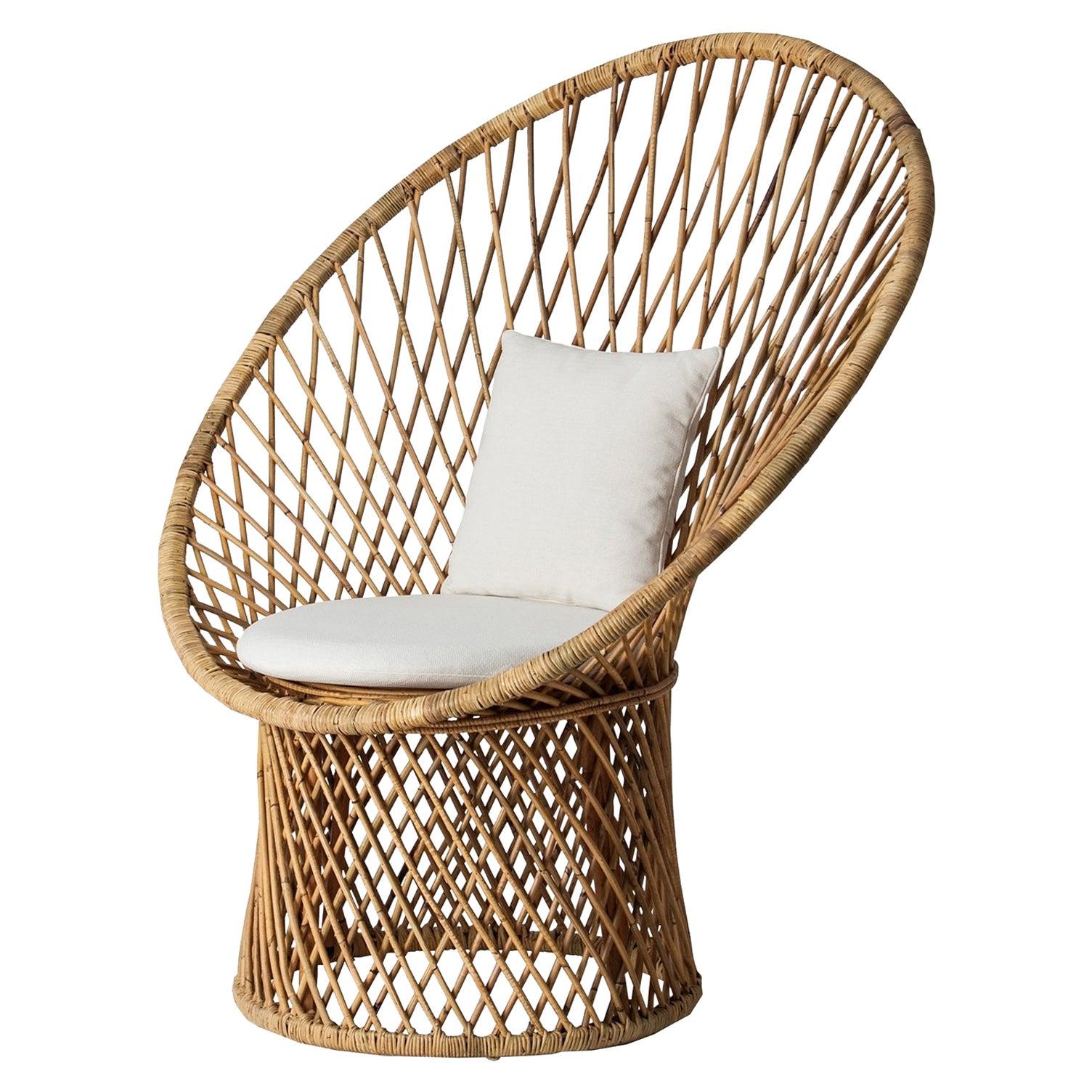 Italian 1960s Design Style Rattan Armchair