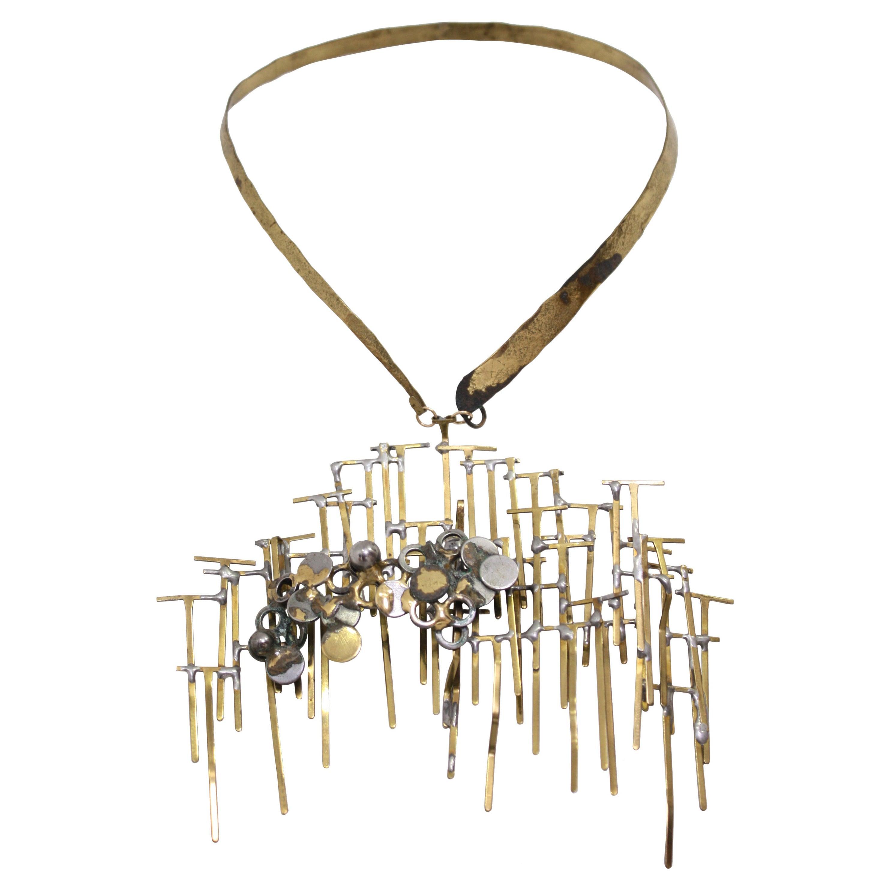 Brutalist Brass Necklace