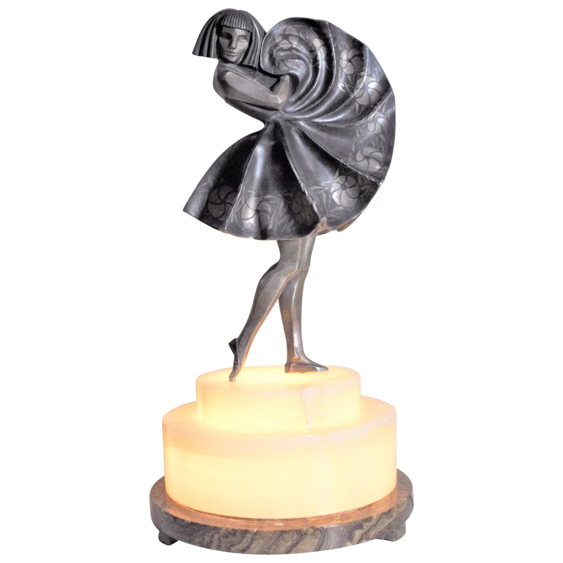Marcel Andre Bouraine Art Deco Silvered Bronze Lighted Sculpture Dancing Girl