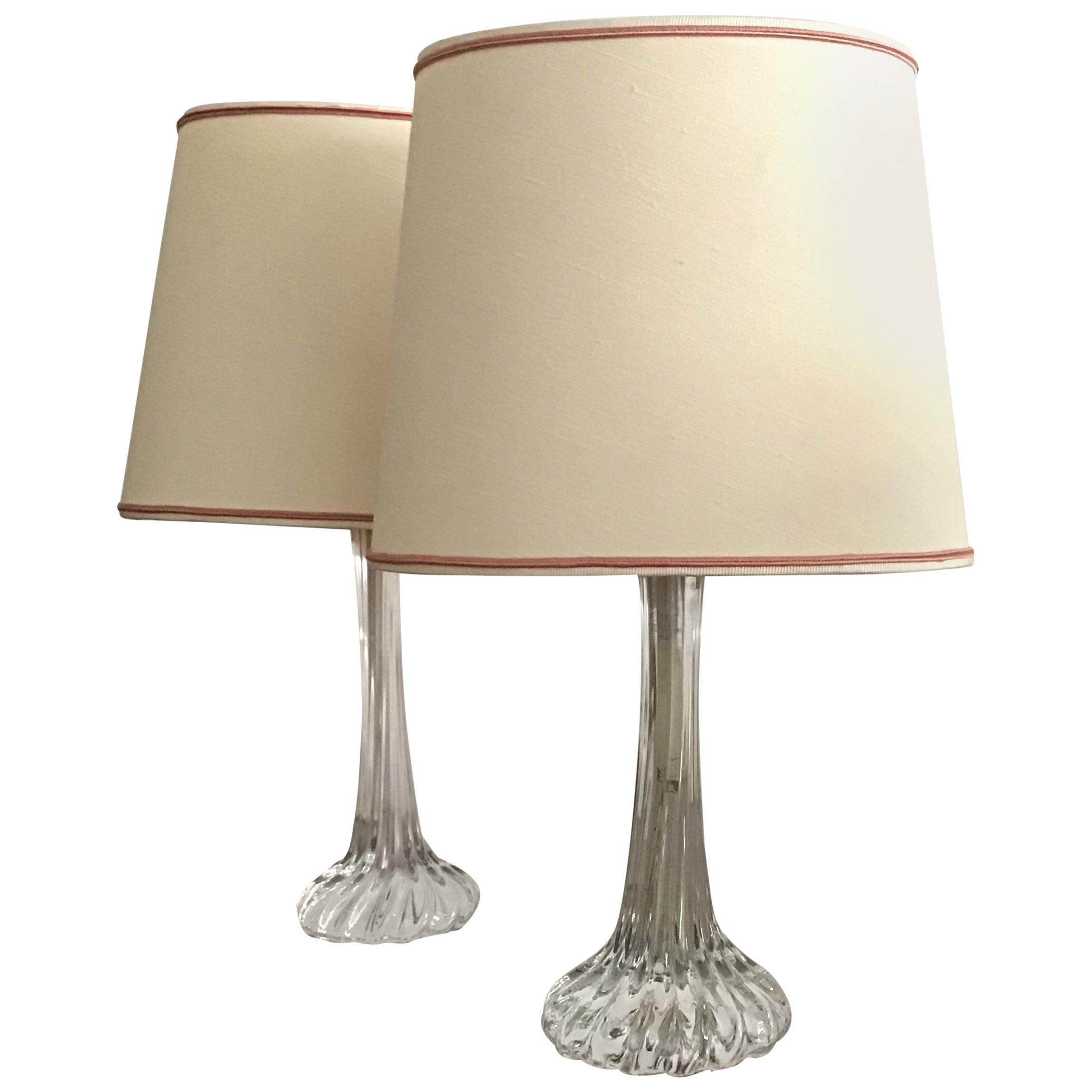 Seguso Table Lamps Murano Glass, 1950, Italy