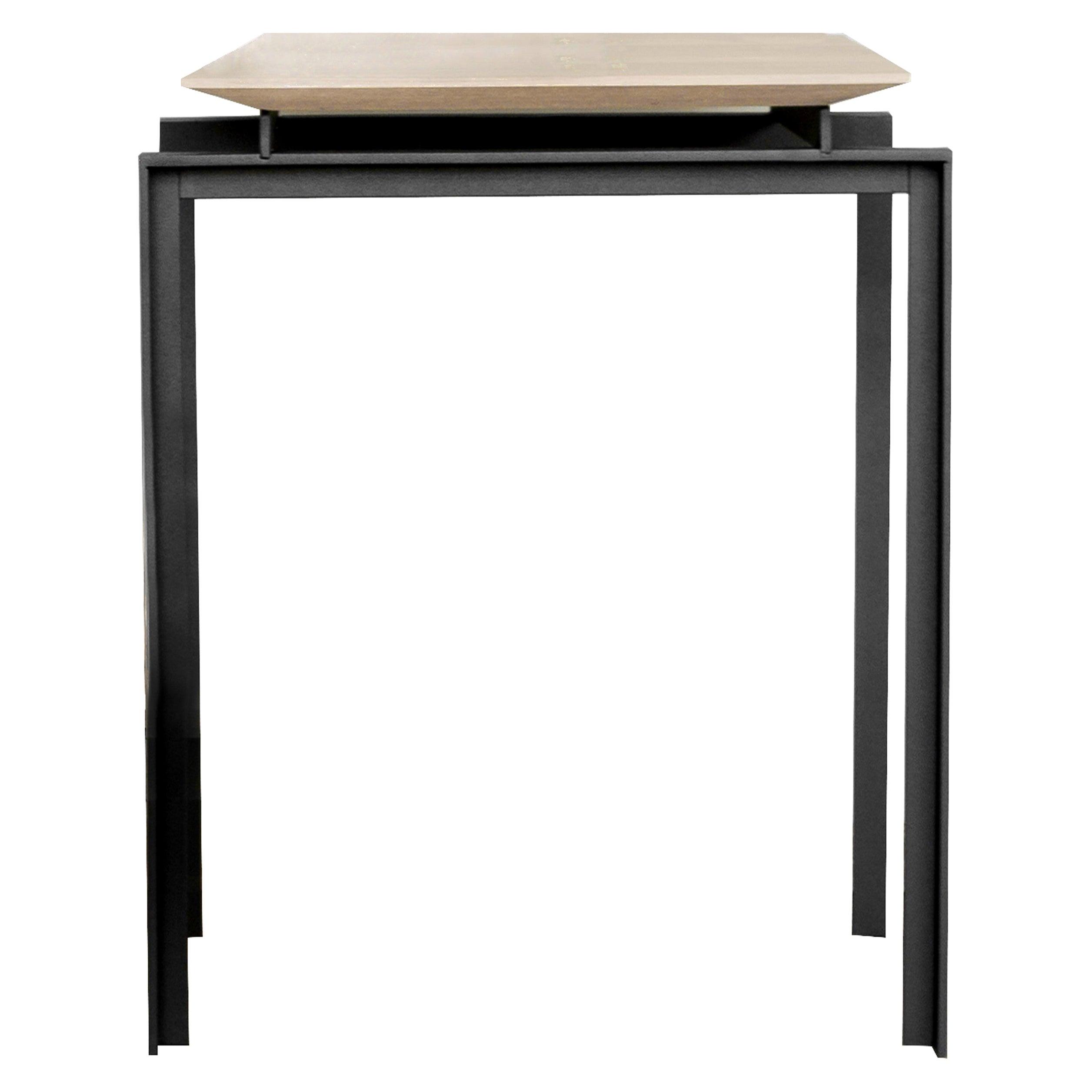 Ala White Oak Veneer Top on Metal Structure Side Table