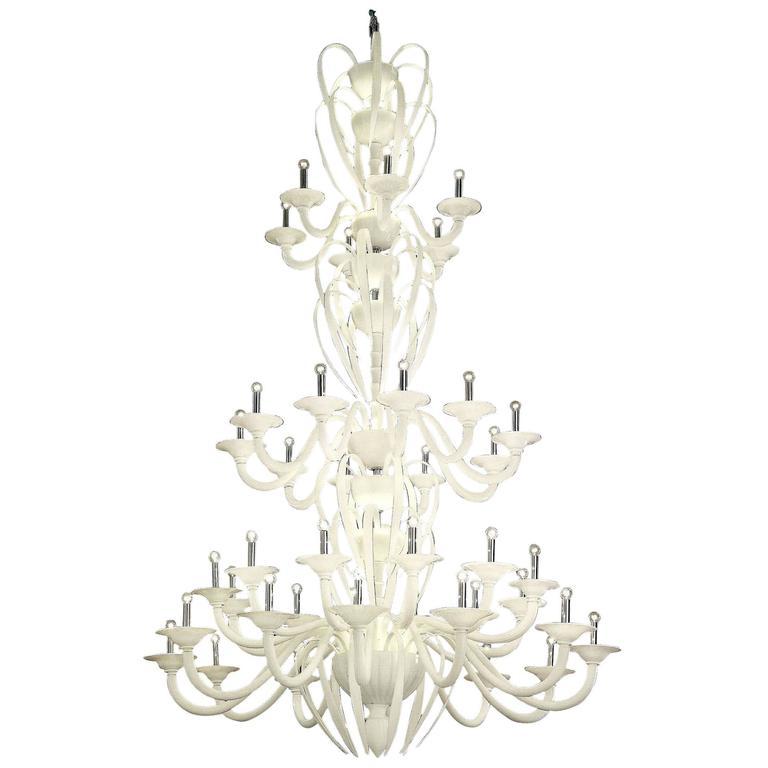 Monumental White Murano Glass Chandelier 1