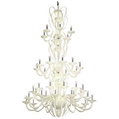 Monumental Mid-Century Modern Neoclassic White Murano /Venetian Glass Chandelier