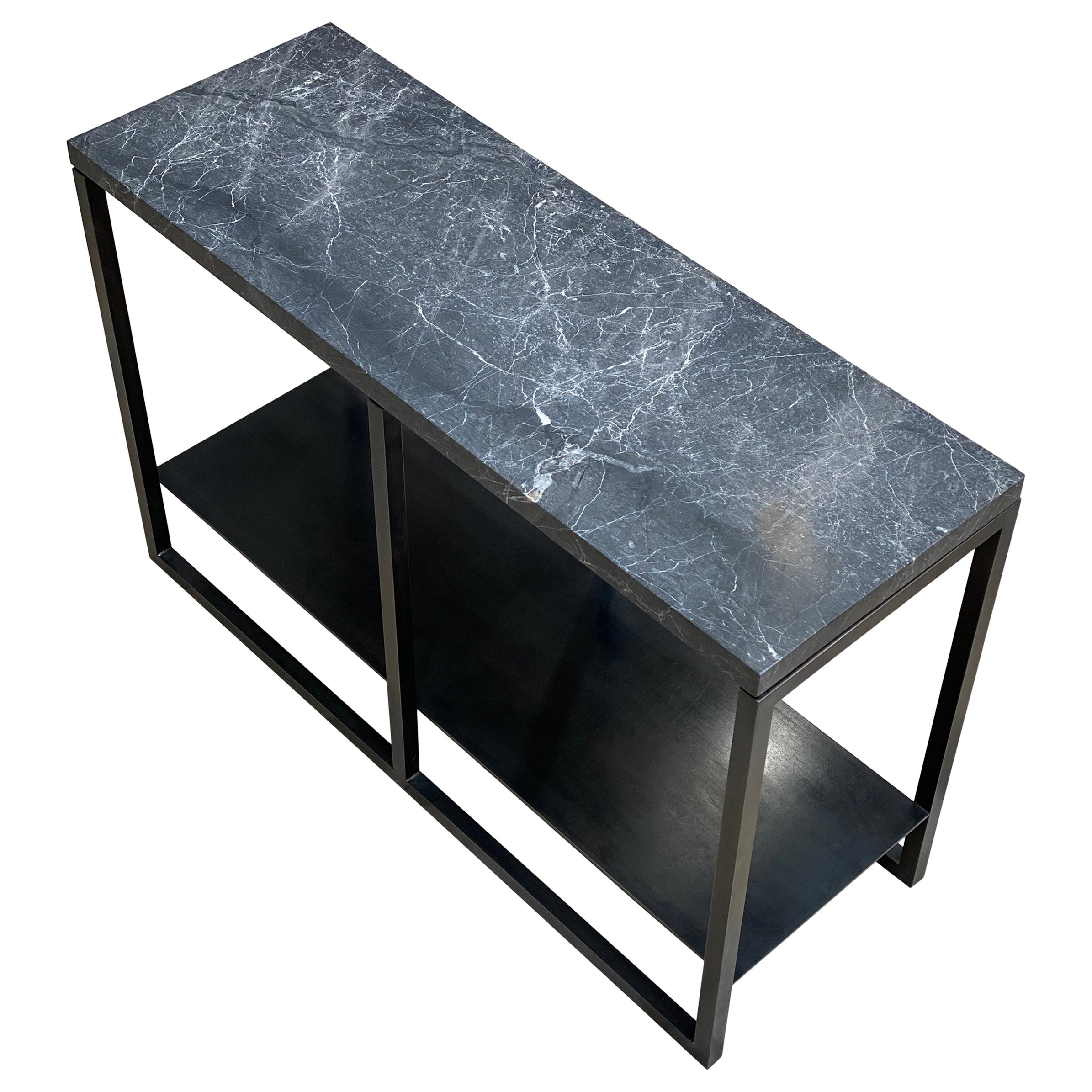 Contemporary Eros Side Table in Nero Marble and Blackened Steel