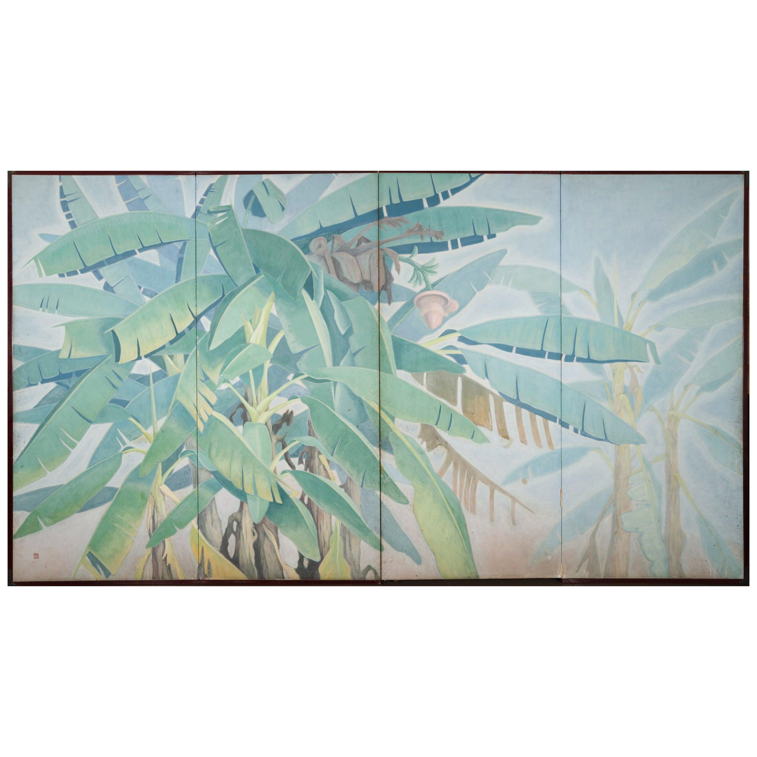 Japanese Four Panel Screen Banana Grove